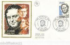 1983 - ENVELOPPE SOIE**FDC 1°JOUR**STENDHAL-ECRIVAIN-GRENOBLE - TIMBRE Yt.2284