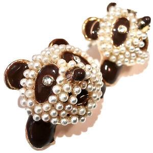 NEW & SEALED - Beautiful Fresh Water Pearl Panda & Crystal Bear Stud Earrings