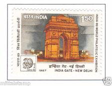 PHILA1098 INDIA 1987 STAMP EXHIBITION DELHI LANDMARKS FORTS INDIA GATE MNH