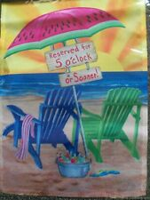 """New listing """"On The Beach"""" Garden Flag - 12.5"""" x 18""""- 5 O'Clock Or Sooner Colorful New Flags"""