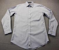 Nordstrom Mens Blue Trim Fit Smartcare 100% Wrinkle Free Dress Shirt 15  34/35