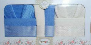 2x Bademantel 4x Handtücher Geschenk Ceyiz 6 teiliges Set blau weiß