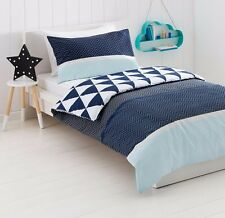 Kids Boys Zigzag Quilt Doona Cover Pillowcase Set Single Bed