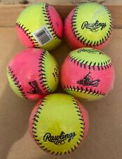 "Rawlings 10"" Fast Pitch Training Softball Protac Hot Pink/Yellow Lot of 5 New!"
