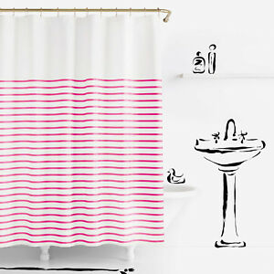 "KATE SPADE Shower Curtain HARBOUR STRIPE 72"" X 72"", White & Pink, NEW"
