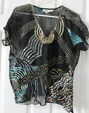 Vtg 1980s Ladies Argenti Silk Top Beaded Sequin Blouse & Camisole Large L