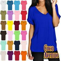 New Ladies Printed Plain Turn Up Short Sleeve Baggy Loose Fit V Neck T-Shirt Top
