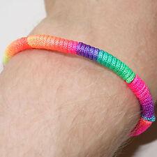 Neon Rainbow Wristband Friendship Cuff Charm Bracelet Bangle Mens Womens Jewelry