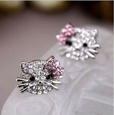 Modish Lovely Cute Cat Bow-knot Silver Crystal Rhinestone Ear Stud Earrings  TOC