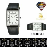 SEIKO SWR049 Men's Watch Rectangular Quartz Black Leather Strap Vintage Dial NEW
