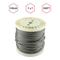 """Stainless Steel Wire Rope Cable Kit 1/8"""",330ft For Deck Railing DIY Balustrade"""