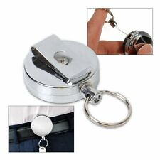 Retractable Key Chain Recoil Ring Belt Clip Pass Holder Stainless Steel Keyring