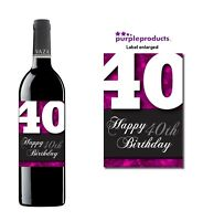 Pink Happy 40th Birthday Glossy Wine & Champagne Bottle Gift Present Label