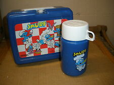 1987 plastic SMURF lunch box w/ thermos