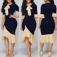 Elegant Women Ruffle Bodycon Dress Evening Cocktail Midi Skirt Work Office Party