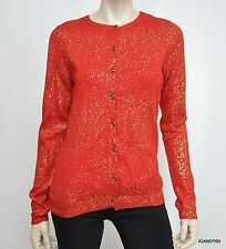 Nwt $89 Calvin Klein Foil Button Front Cardigan Sweater Top ~Rouge/Red/Gold L