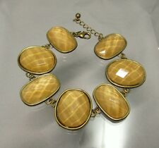 AVON Chunky Faceted Taupe Topaz Acrylic Cabs Link Bracelet #815