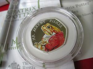 Beatrix Potter Mr. Jeremy Fisher 2017 Silver Proof Coloured 50p Coin MINT NEW