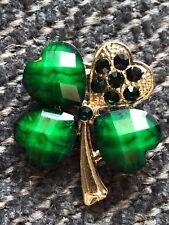 "shamrock Brooch pin green rhinestones gold tone 1""X 1"" Gift silver tone #13"