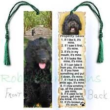 Black Labradoodle Dog Large Bookmark Tassel Property Rules Book Art Card poodle