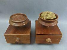 Signed Pair Mahogany Shaker Sewing Boxes Pin Cushions