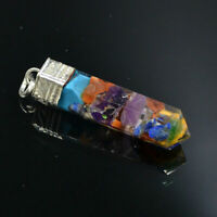 34 MM Long Orgone orgonite Multi 7 Chakra Pendant Set Crystal Healing Stone