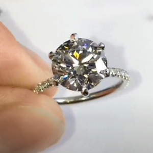 4.38 TCW Round Cut DEF Moissanite 6 Prong Engagement Ring 14k White Gold Finish