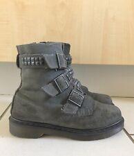 8fbdada08879 Dr Martens Hayley Oiled Suede Buckle Stud Biker Boots Size UK 6