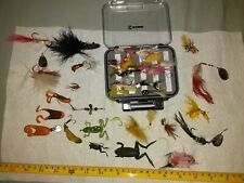 Fly Fishing Flies Lot. Hand Tied. Frogs. Spinners W/ Pocket Clam Box