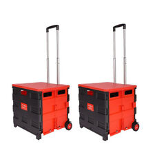 2X Faltbar Einkaufstrolley Klappbar mit Rad Schwarz und Rot Einkaufstasche