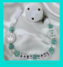 ♕ Personalised DUMMY CLIP Max 8 letters ♕ LITTLE PRINCE ♕ MINT GREEN Sparkle ♕