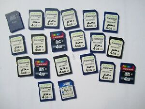 LOT of 20 pre owned used 4GB SD cards as seen in actual pictures mixed brand GB