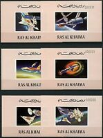 Raumfahrt Space 1972 Ras al-Khaima Skylab 752-757 Einzelblocks MNH/836
