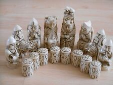 Medieval Resin Chess Set in Mahogany (Dark Red) and Ivory effect