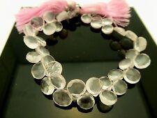 """Natural Pink Rose Quartz Faceted Briolette Heart Shape Gemstone Beads 8"""" Strand"""