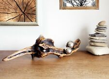 Kugelfisch Skulptur aus Schwemmholz Treibholz + 3 Edelstahlkugeln H19 x B74 cm