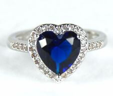 Women's White Gold plated Blue crystal Heart ring