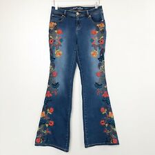 Anna Sui INC Womens Jeans Floral Embroidered Curvy Fit Flare Leg Stretch Denim