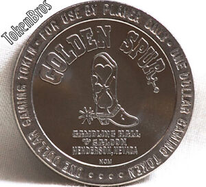 $1 SLOT TOKEN COIN GOLDEN SPUR SALOON CASINO 1989 NCM MINT HENDERSON NEVADA NEW