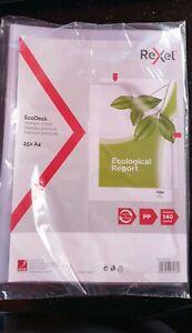 25 X Embossed Clear A4 Rexel EcoDesk Premium L Cut Flush Folders