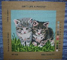 CAT KITTEN PUSSY NEEDLEWORK TAPESTRY PRINTED CANVASES ISN'T LIFE A PUZZLE  CUTE