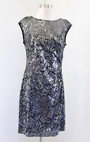 Lauren Ralph Lauren Black Silver Mesh Sequin Ruched Cocktail Party Dress Size 10