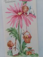 UNUSED Vtg Flower FAIRY GIRLS  SEWING Theme BIRTHDAY GREETING CARD New Old Stock