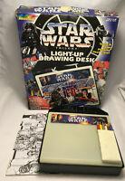 Vintage Star Wars Trilogy RoseArt Light Up Drawing Desk w/ Colored Pencils & Box