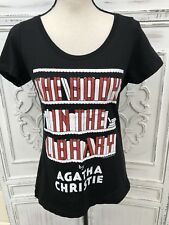 """NWT Out of Print Size S M 38"""" Chst T Shirt AGATHA CHRISTIE Book In Library Cover"""
