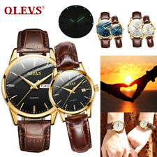 OLEVS Couples Genuine Leather Quartz Analogue Watch Luminous Wristwatches Gifts