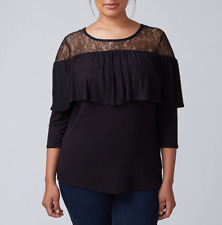TRENDY LANE BRYANT WOMEN'S LACE YOKE BLACK 3/4 SLEEVE TOP PLUS Sz 26/28