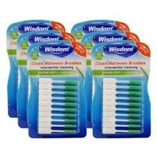 6 x Wisdom GREEN Clean Between MEDIUM Rubber 20 Interdental Floss Plaque Brushes