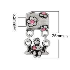"""Little Girl On Swing W/ Colored Crystals"" Charm Bead  For Most Eur..."