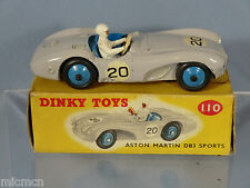 DINKY TOYS MODEL No.110  ASTON MARTIN DB3S    ( LIGHT GREY VERSION )  VN MIB